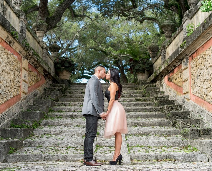 Juliana & Diego + Vizcaya Gardens Engagement Shoot + Miami, FL
